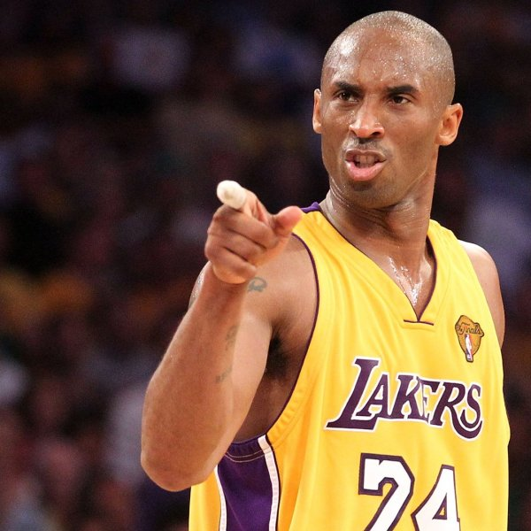 Kobe Bryant points during Game Seven of the 2010 NBA Finals against the Boston Celtics at Staples Center on June 17, 2010. (Credit: Ronald Martinez / Getty Images)