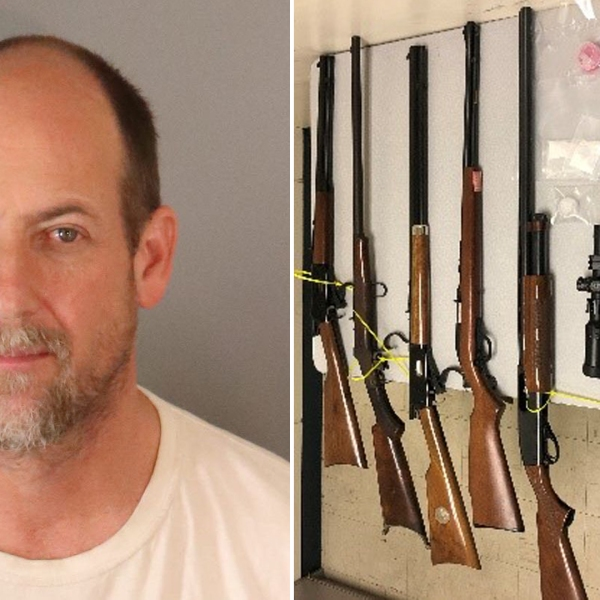 Dr. Keith Curtis and firearms police say he was found in possession of are seen in undated photos provided by the Riverside Police Department.