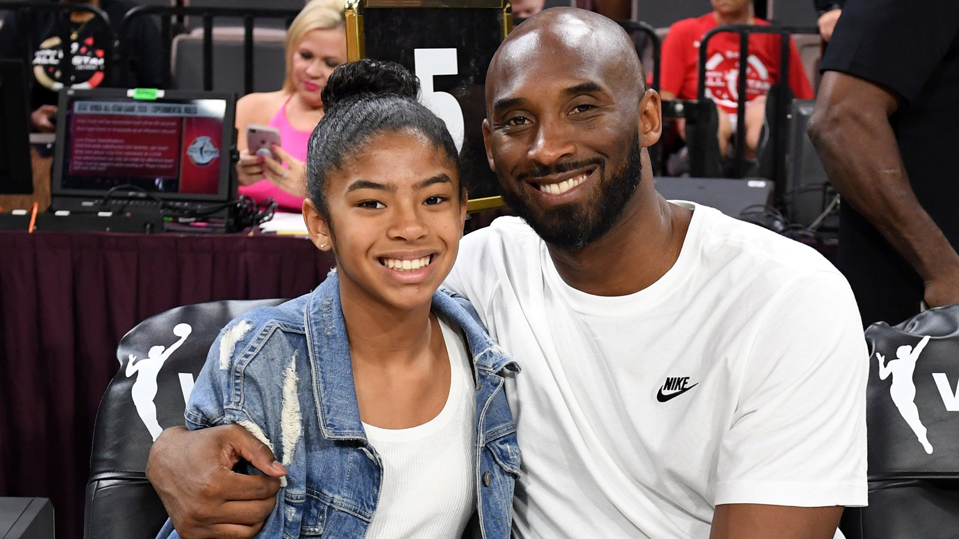 Kobe and Gianna Bryant attend the WNBA All-Star Game 2019 at the Mandalay Bay Events Center on July 27, 2019, in Las Vegas. (Credit: Ethan Miller/Getty Images)
