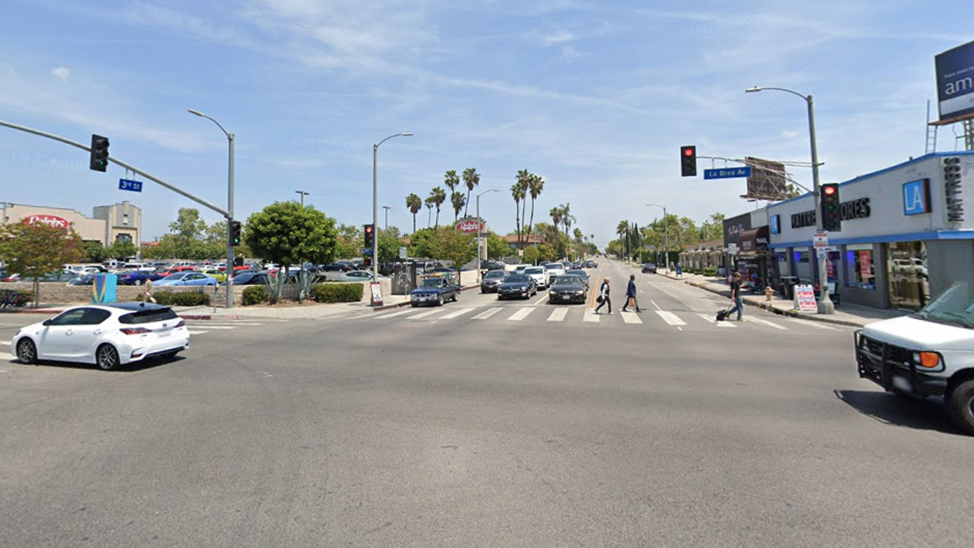 The intersection of La Brea Avenue and Third Street is shown in a Street View image from Google Maps.