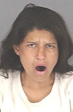 Ruby Mora is seen in a booking photo released Feb. 21, 2020, by the Riverside County Sheriff's Department.