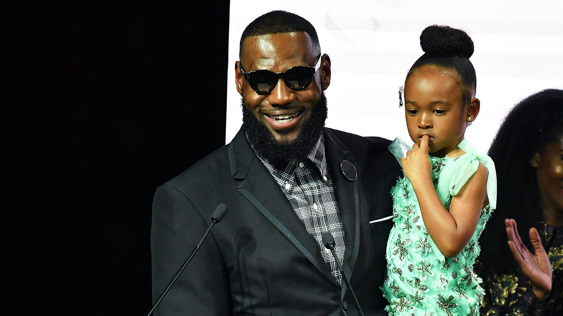 LeBron James holds his daughter Zhuri James during an event at New York Fashion Week on Sept. 4, 2018. (Credit: Slaven Vlasic / Getty Images)