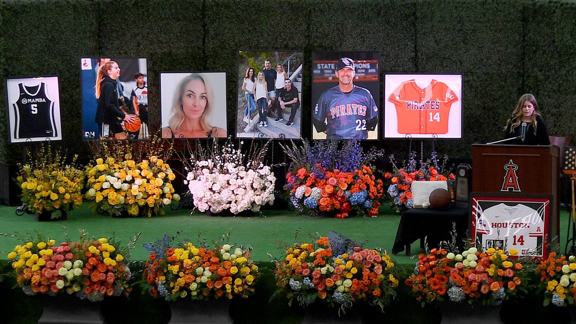 Sammy Forbath, best friend of Alyssa Altobelli, speaks at a memorial service honoring baseball coach John Altobelli, his wife, Keri, and their daughter Alyssa at Angel Stadium on Feb. 10, 2020. (Credit: Jayne Kamin-Oncea / Getty Images)