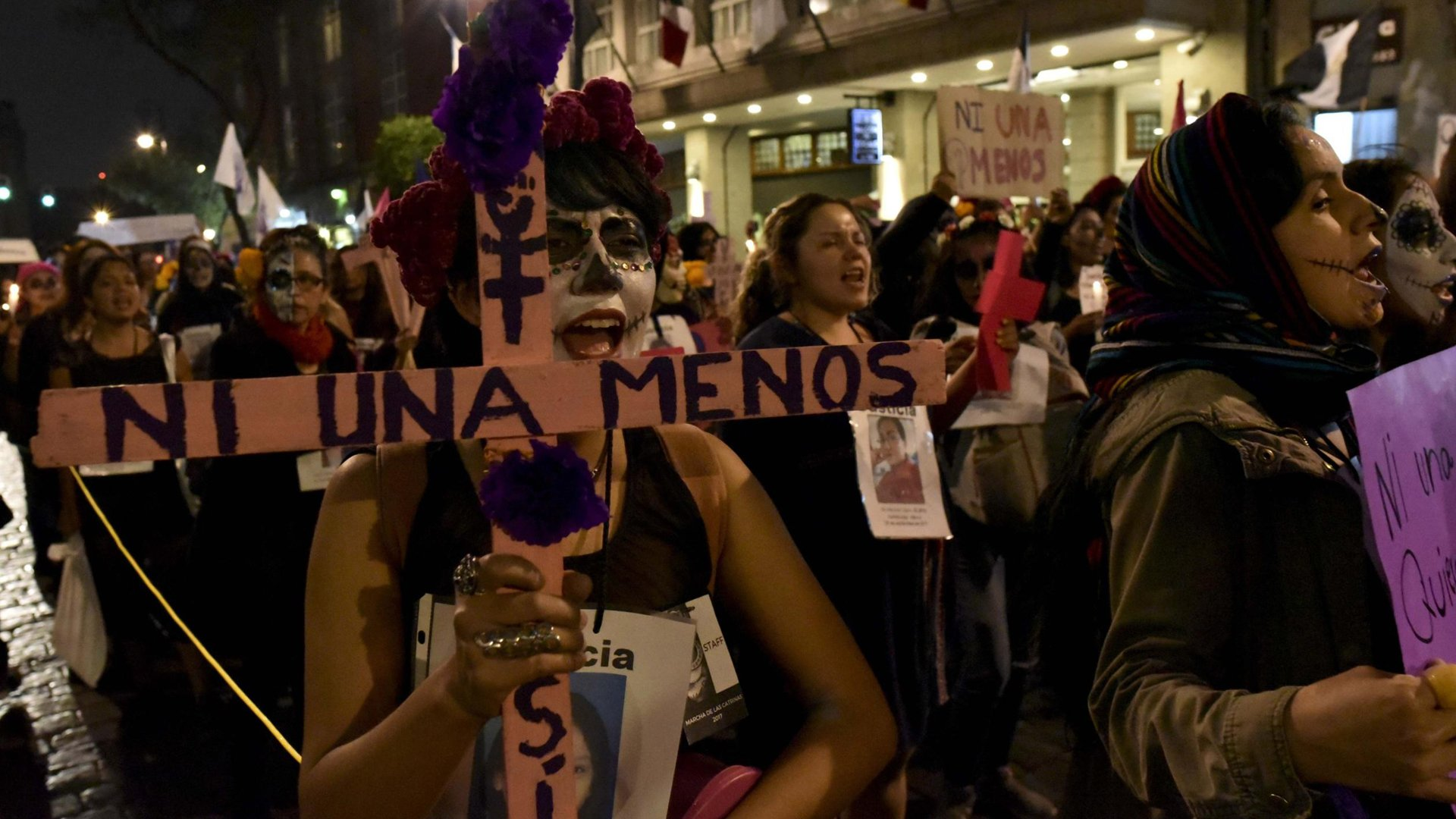 Seen is a previous protest over the rate of prosecutions over femicide in Mexico. (Credit: AFP Contributor/AFP/Getty Images)