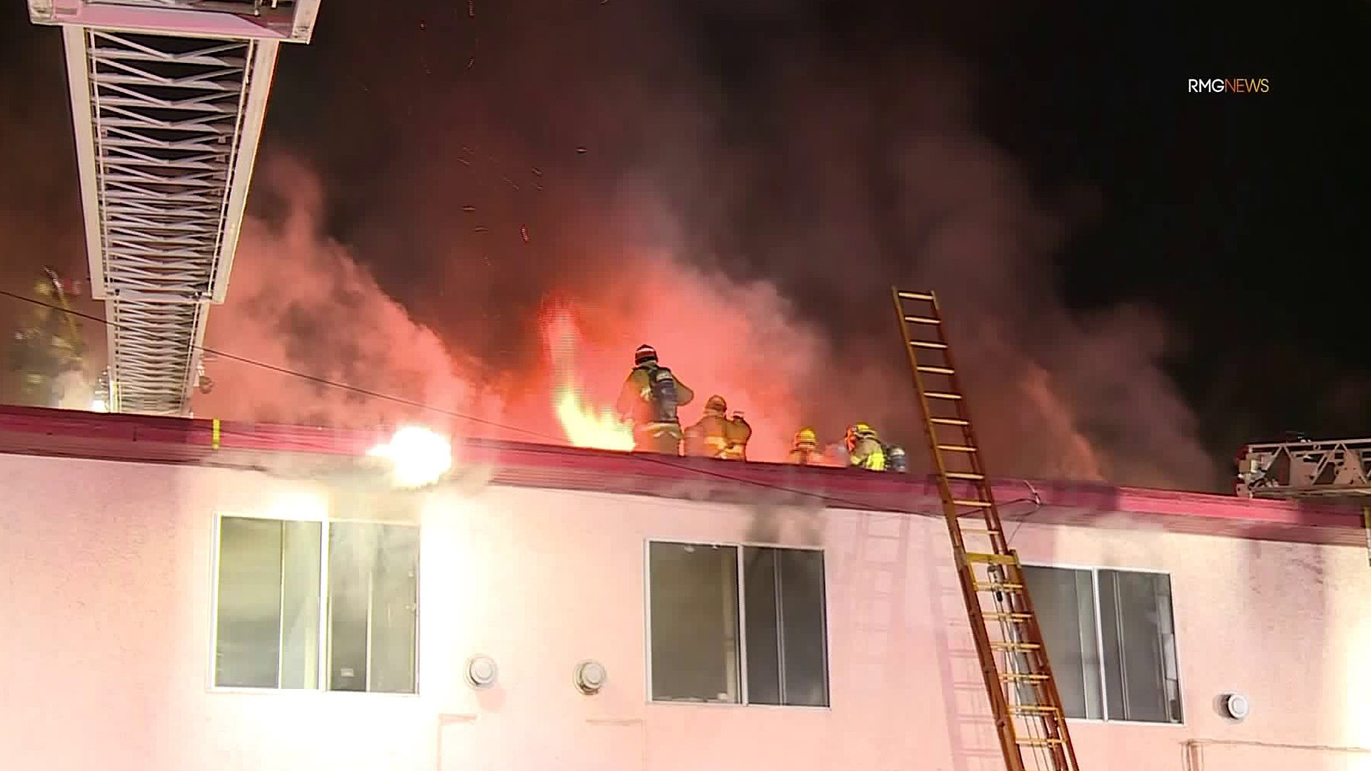 Firefighters respond to a blaze in Mid-City neighborhood on Feb. 7, 2020. (Credit: RMG News)