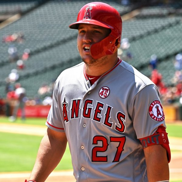 Mike Trout of the Los Angeles Angels reacts after his two-run home run in the top of the first inning during game one of a doubleheader against the Texas Rangers at Globe Life Park in Arlington on Aug. 20, 2019 in Arlington, Texas. (Credit: C. Morgan Engel/Getty Images)