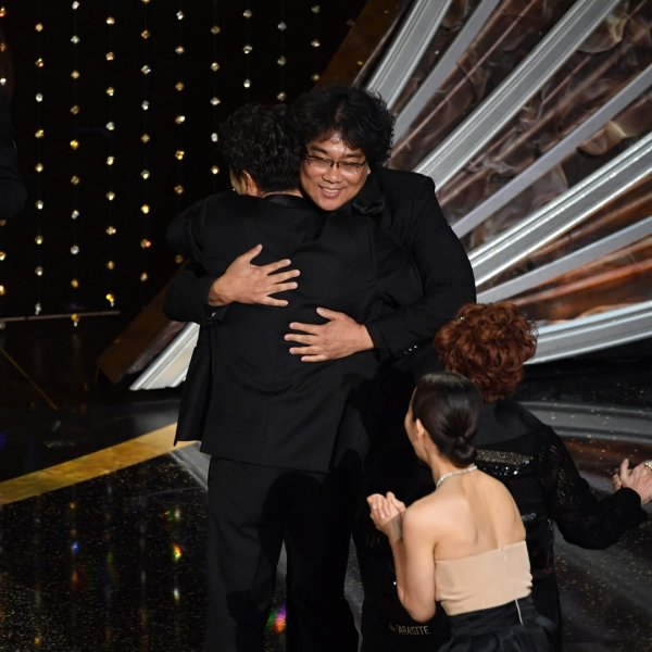 Bong Joon-ho accepts the Best Picture award for 'Parasite' onstage during the 92nd Annual Academy Awards at Dolby Theatre on February 09, 2020 in Hollywood, California. (Credit: Kevin Winter/Getty Images)