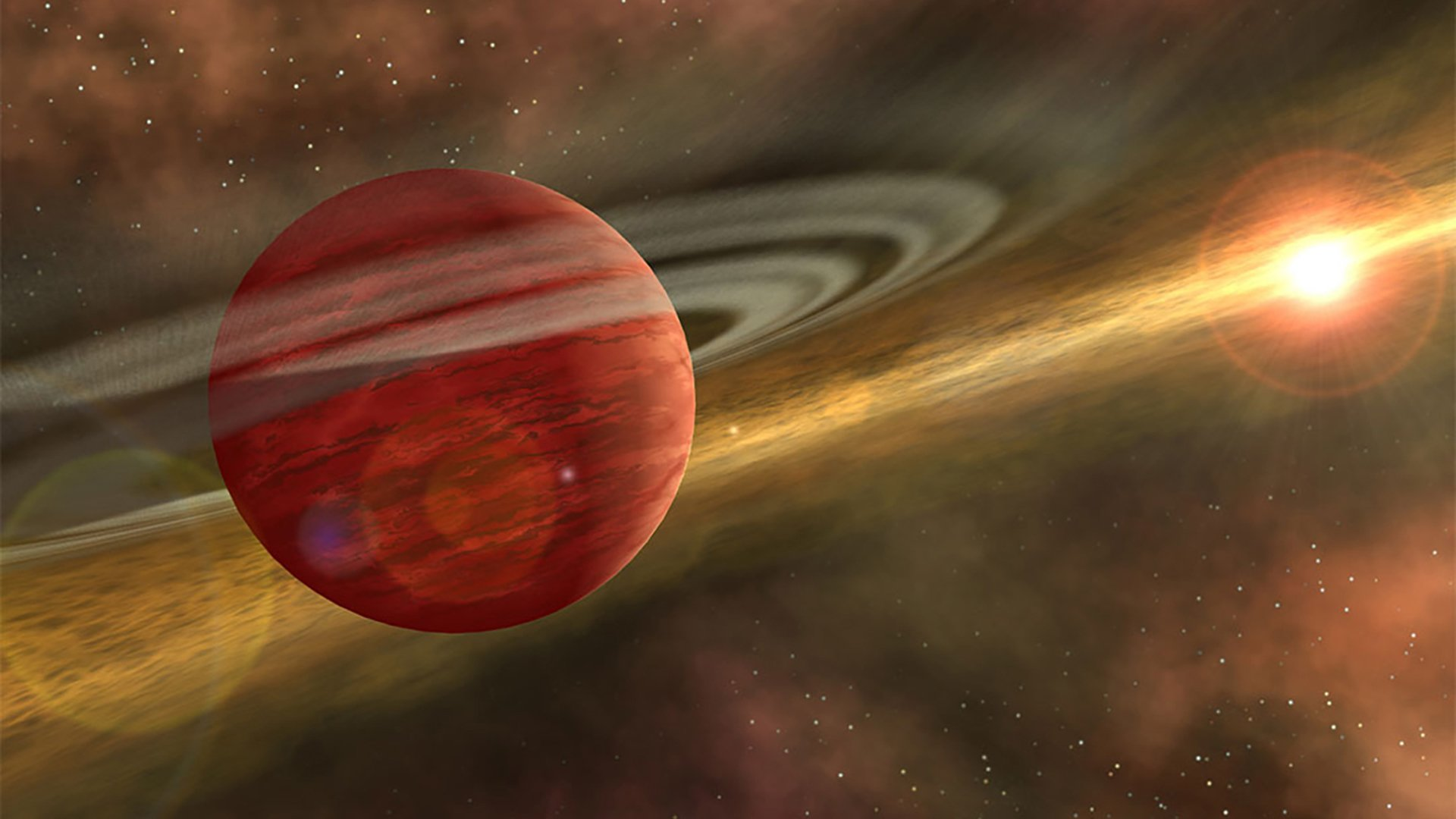Artist's conception of a massive planet orbiting a cool, young star.(Credit: NASA/JPL-Caltech/R. Hurt)
