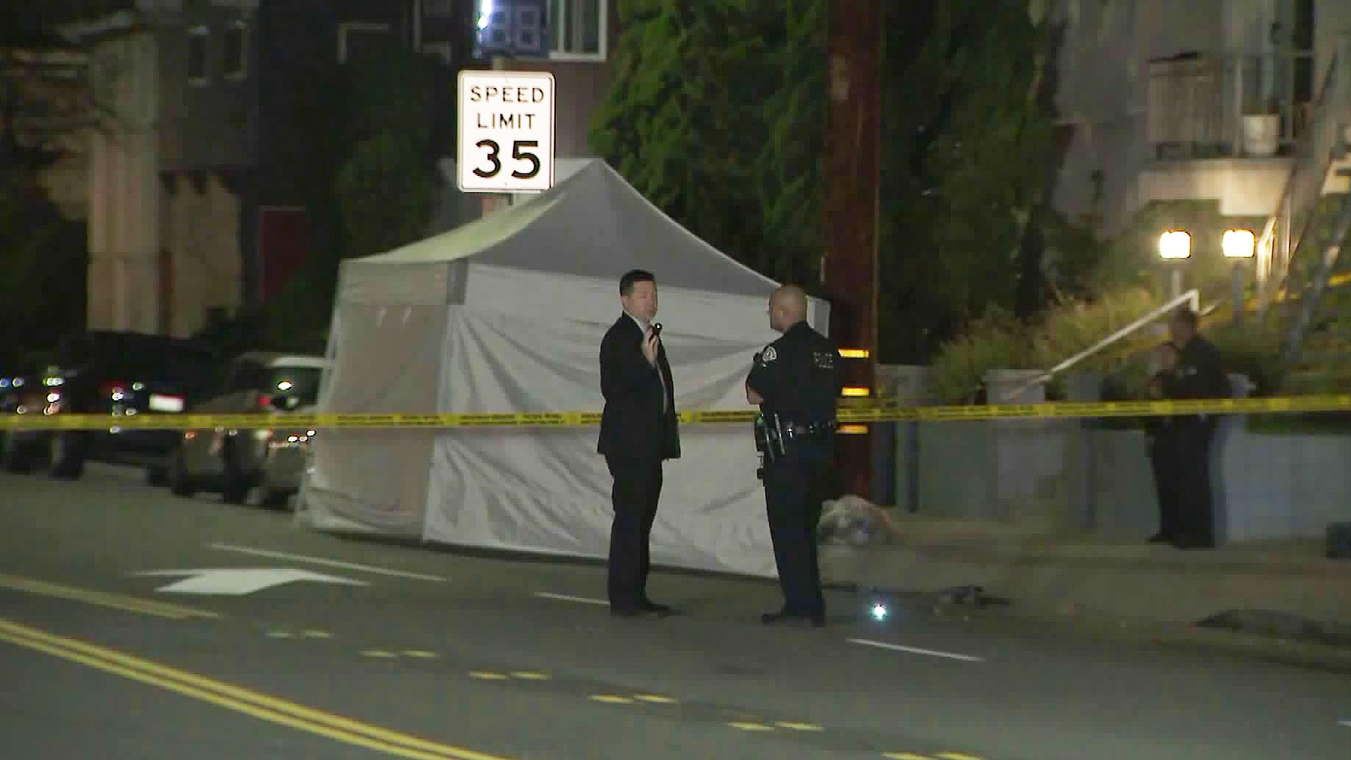 Police investigate a fatal hit-and-run crash in Playa Del Rey on Feb. 13, 2020. (Credit: KTLA)