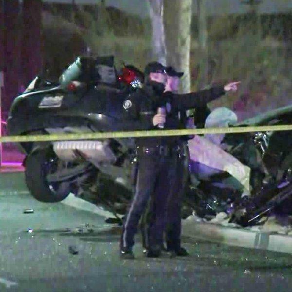 Police investigate a fatal crash in Pomona on Feb. 18, 2020. (Credit: KTLA)