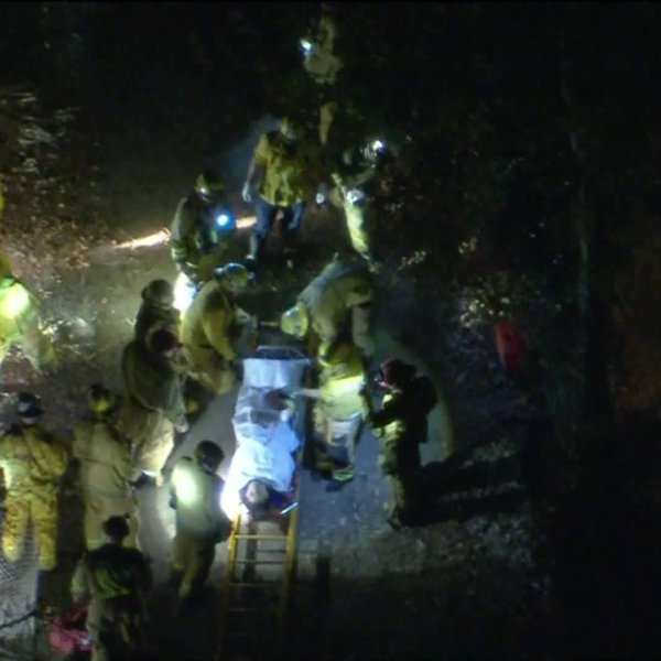 Firefighters rescued one person stuck in the Calabasas Creek on Feb. 25, 2020. (KTLA)