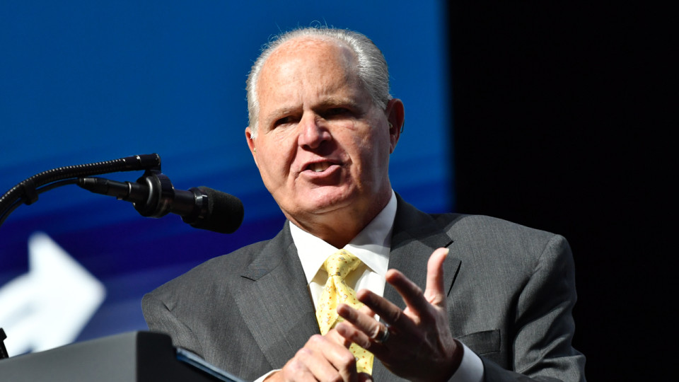 Rush Limbaugh speaks before Donald Trump takes the stage during the Turning Point USA Student Action Summit at the Palm Beach County Convention Center in West Palm Beach, Florida on Dec. 21, 2019. (NICHOLAS KAMM/AFP via Getty Images)