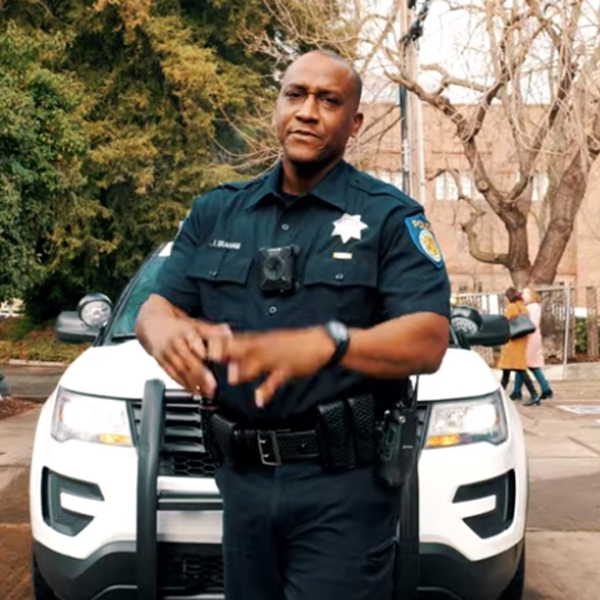 Officer Filmore Graham is seen in a still image from a Sacramento Police Department recruitment video.