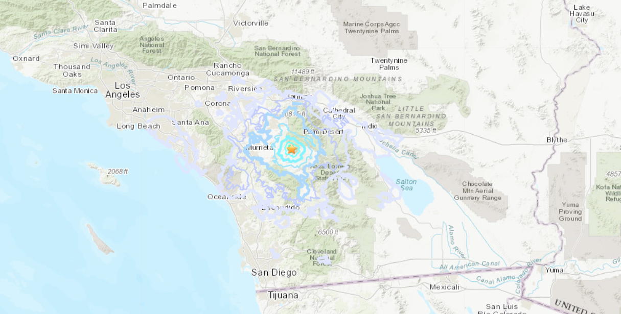 The location of a magnitude 3.6 earthquake reported on Feb. 1, 2020, near Valle Vista. (Credit: USGS)