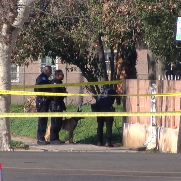 Police respond to a shooting at a Fresno home on Feb. 1, 2020. (Credit: KRON4)