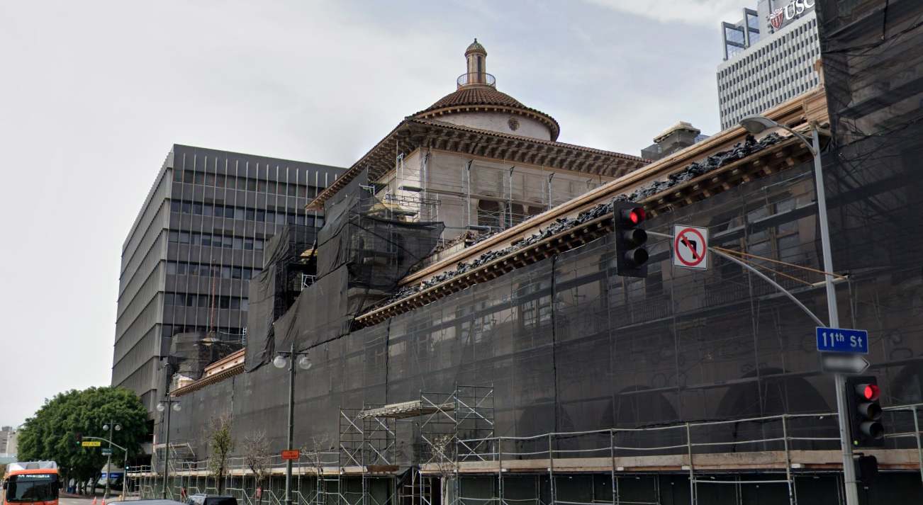 The Herald Examiner Building is seen under construction in the area of Broadway and 11th Streets in downtown Los Angeles in a Google Maps Str