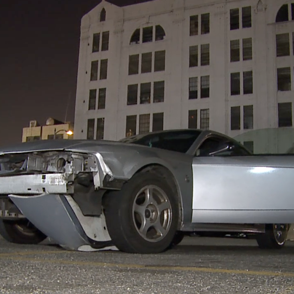 A Ford Mustang is seen in a lot in downtown Los Angeles after a pursuit on Feb. 17, 2020. (Credit: Loudlabs)