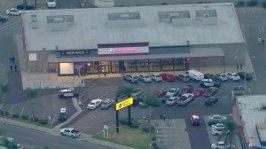 Police investigate the scene of a shooting near Washington and Norwalk boulevard in Santa Fe Springs on Feb. 21, 2020. (Credit: KTLA)