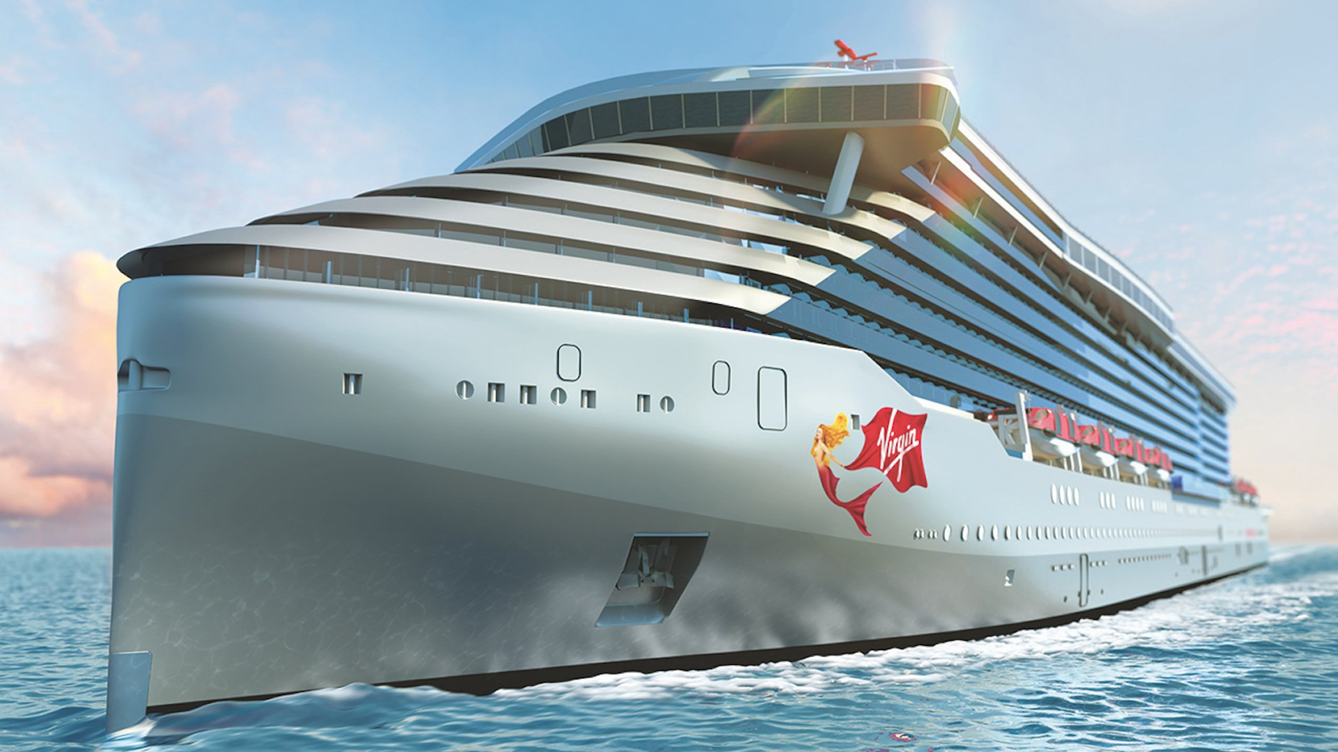 A rendering of Virgin Voyages' first ship, the Scarlet Lady. (Credit: Virgin Voyages)