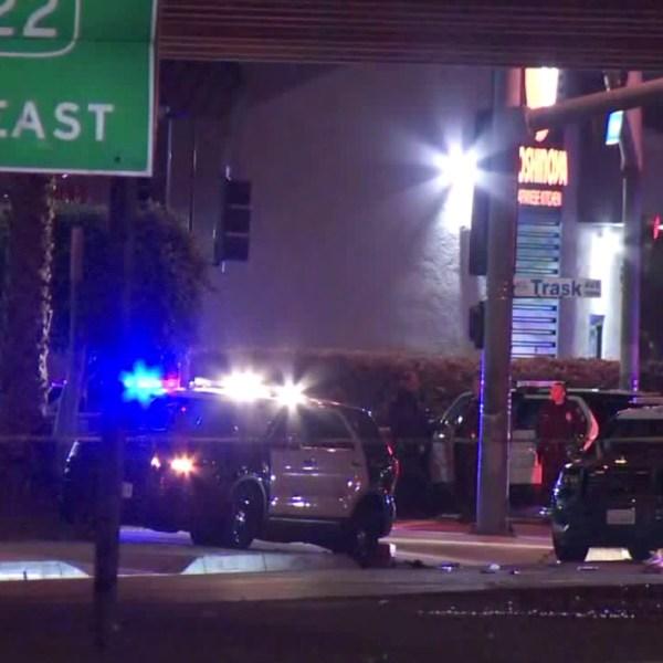 Authorities investigate a shooting in Garden Grove on Feb. 26, 2020. (KTLA)