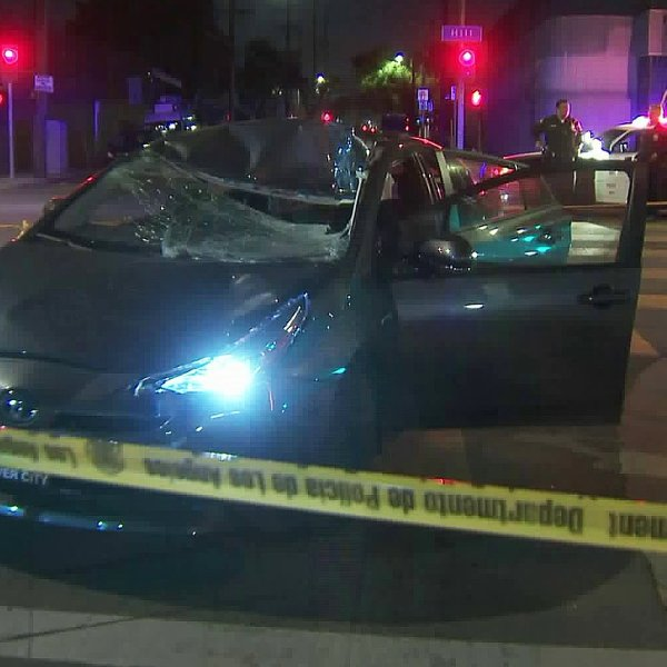 Police respond to a fatal hit-and-run crash in South Los Angeles on Feb. 6, 2020. (Credit: KTLA)