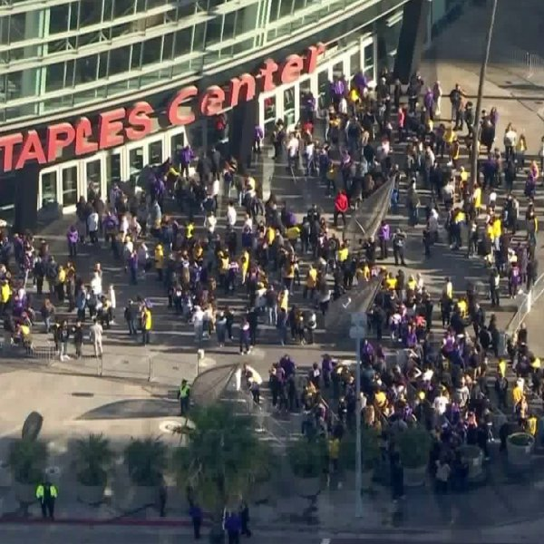 Fans with tickets to the celebration of life service for Kobe and Gianna Bryant lined up before the event on Feb. 24, 2020. (Credit: KTLA)