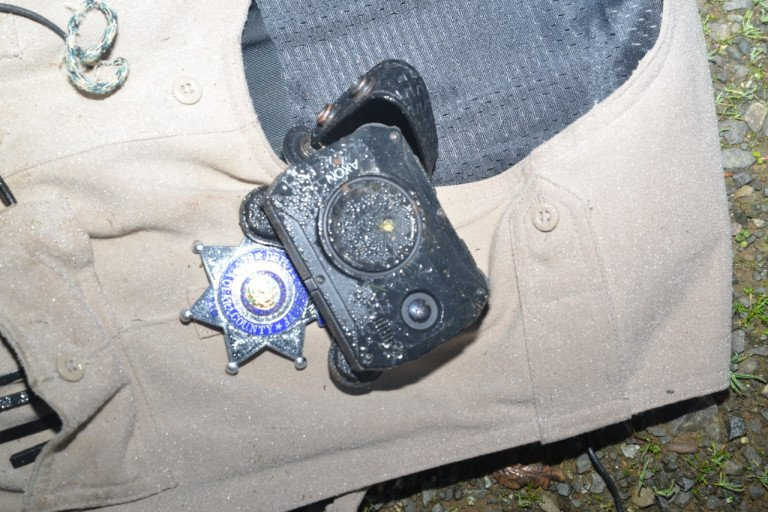 A deputy's body camera is seen after being shot on Jan. 31, 2020, in a photo released Feb. 3, 2020. (Credit: Santa Clara County Sheriff's Office via KRON)