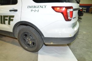 Bullet holes are seen on a sheriff's SUV after it was involved in a deputy ambush on Jan. 31, 2020, in a photo released Feb. 3, 2020. (Credit: Santa Clara County Sheriff's Office via KRON)