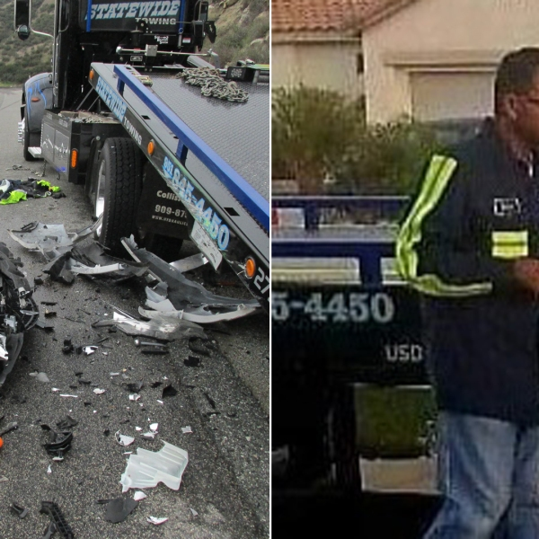 Enrique Ramirez Sanchez, right, is seen in an undated photo posted to a GoFundMe page. At left, his tow truck is seen after a crash involving an out-of-control vehicle on Highway 79 south of Banning on Feb. 23, 2020, in a photo released by California Highway Patrol.