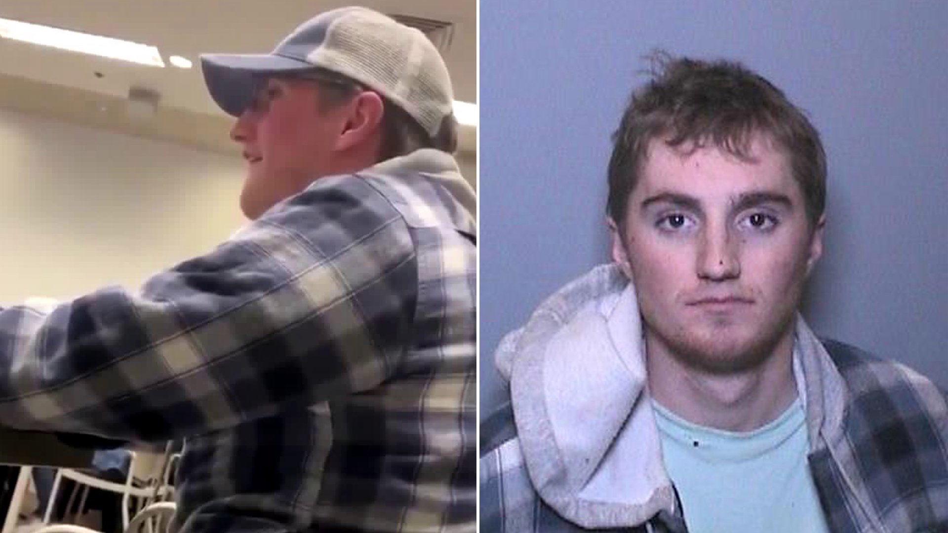 A man is seen using obscene language in a classroom at Chapman University on Feb. 4, 2020. (Credit: @thereal_mowens/ Twitter) On the right, Dayton Kingery, 21, is seen in a booking photo provided by the Orange Police Department.