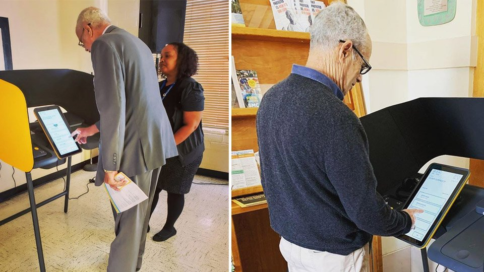 People preview the new VSAP voting model in Los Angeles County. (Credit: L.A. County Registrar-Recorder)