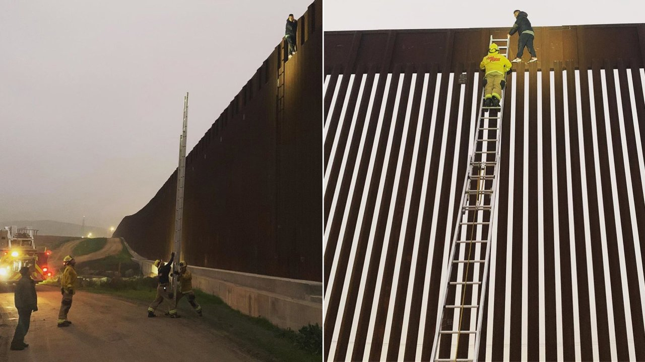 San Diego Firefighters Rescue Man Who Got Stuck on Top of Border Wall