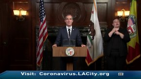 L.A. Mayor Eric Garcetti is seen during a news conference on March 23, 2020.