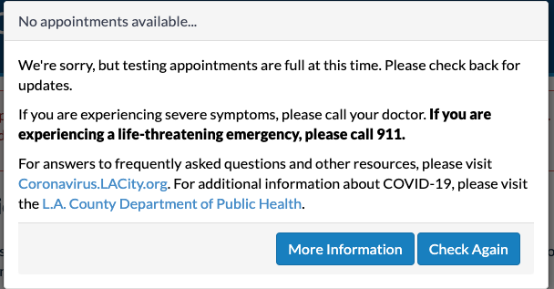 The L.A. city coronavirus testing site indicated March 27, 2020, that no appointments were available.