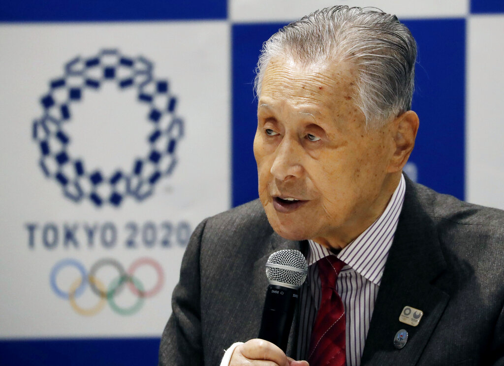 Tokyo 2020 Organizing Committee President Yoshiro Mori delivers a speech during the Tokyo 2020 Executive Board Meeting in Tokyo, Japan Monday, March 30, 2020. (Issei Kato/Pool Photo via AP)