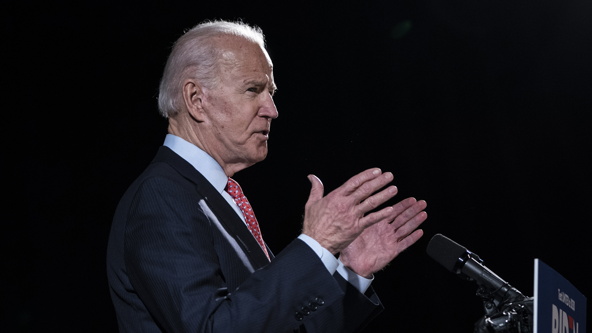 Democratic presidential candidate former Vice President Joe Biden delivers remarks about the coronavirus outbreak, at the Hotel Du Pont March 12, 2020 in Wilmington, Delaware. (Drew Angerer/Getty Images)