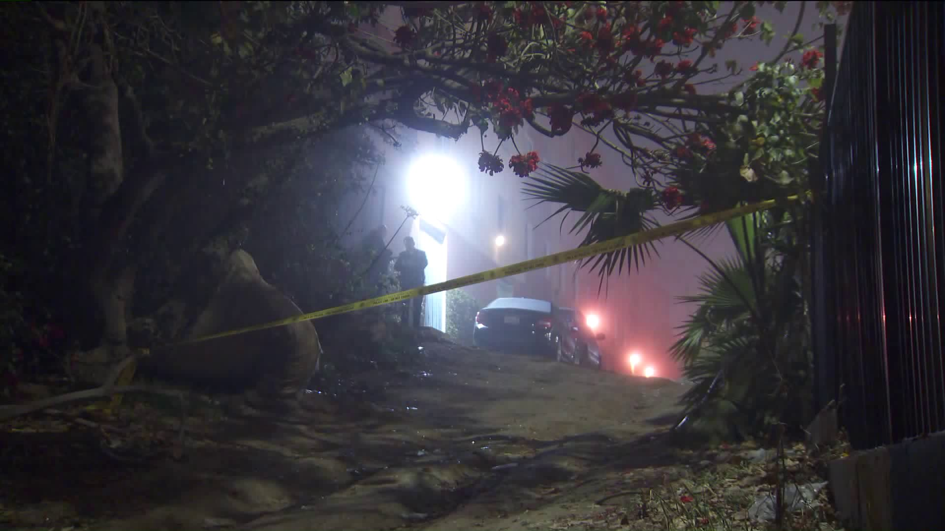 Police respond to the scene of a fatal shooting in the Harbor Gateway neighborhood of Los Angeles on March 6, 2020. (KTLA)