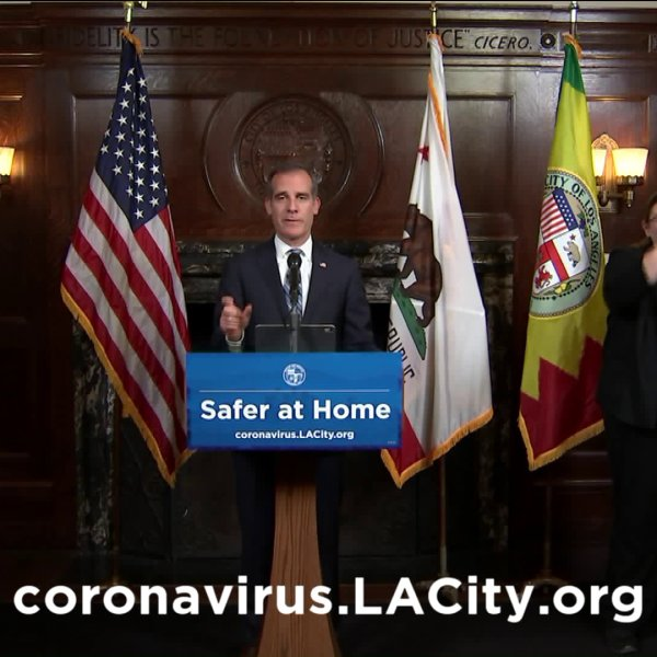 Mayor Eric Garcetti speaks at a news conference on March 25, 2020.