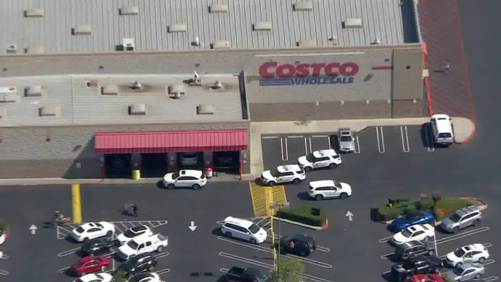 At least two law enforcement vehicles could be seen parked outside the Costco in Chino Hills on March 5, 2020. (KTLA)