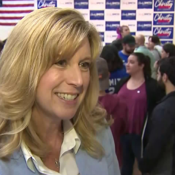 Christy Smith, a Democratic candidate for the 25th Congressional District of California, is pictured at an Election Day event on March 3, 2020. (KTLA)