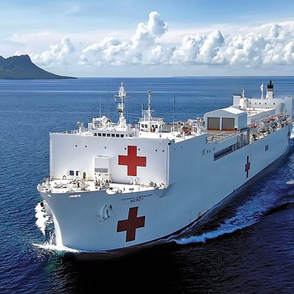 The USNS Mercy is seen headed to the Port of L.A. in a photo tweeted by Mayor Eric Garcetti.