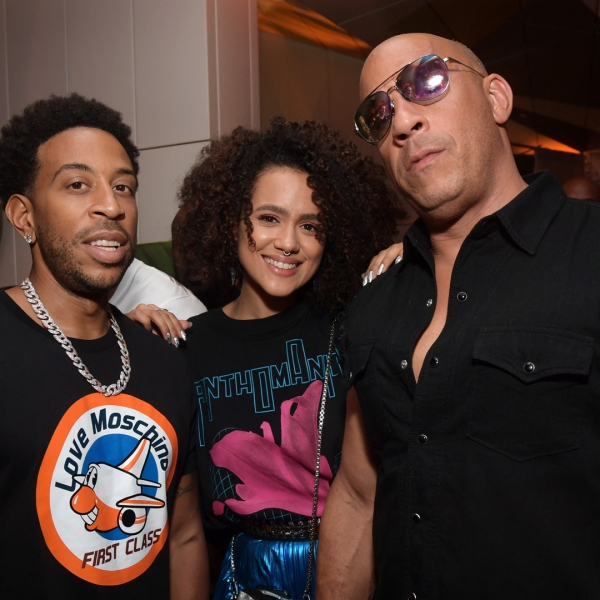 """Chris """"Ludacris"""" Bridges, Nathalie Emmanuel and Vin Diesel attend the Fast & Furious F9 After Party at Kaido Miami on Jan. 31, 2020, in Miami. (Jason Kempin/Getty Images for Universal Pictures)"""