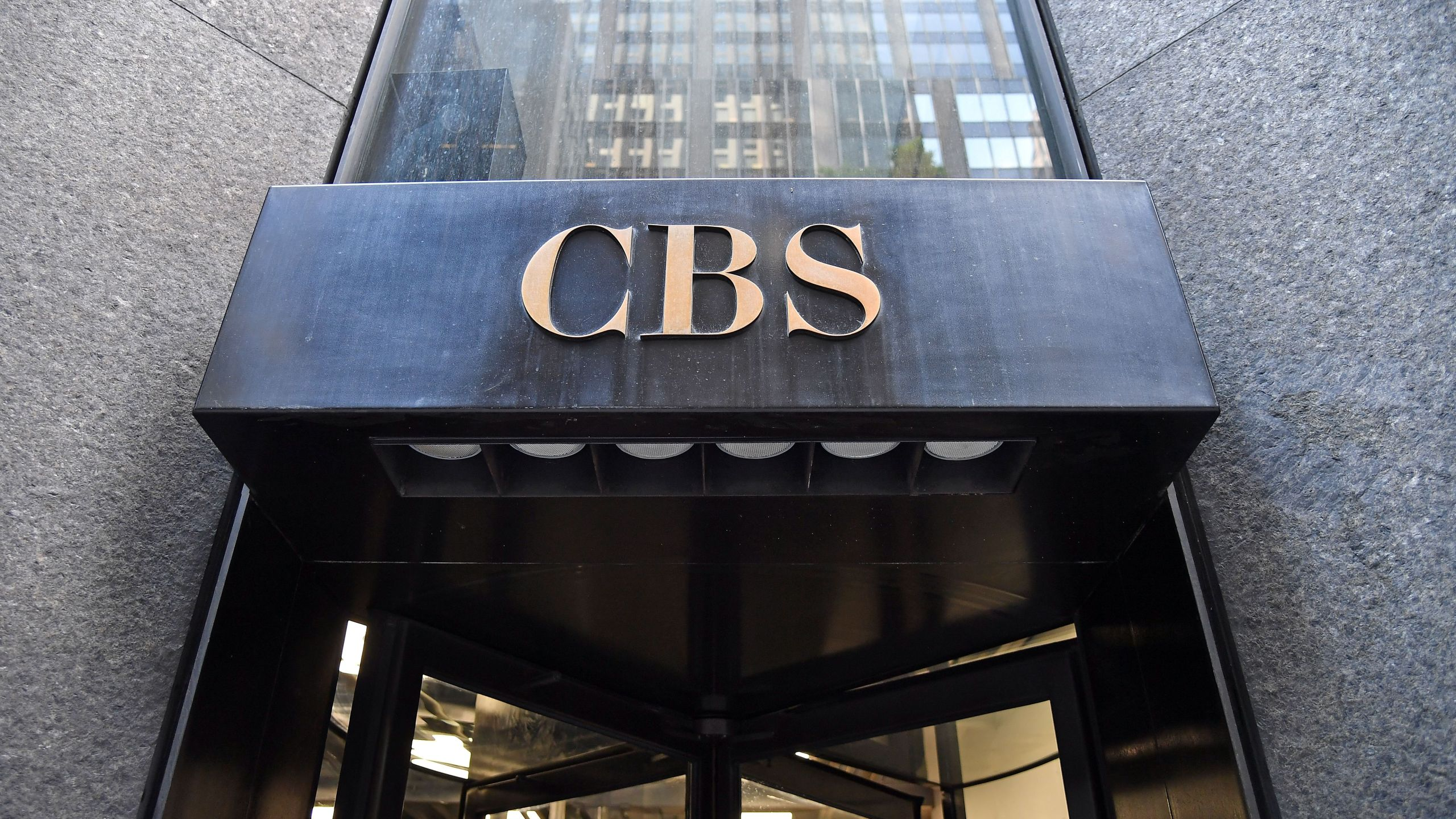 The CBS logo is seen at headquarters of the CBS Corporation, in New York City on August 6, 2018. (ANGELA WEISS/AFP via Getty Images)