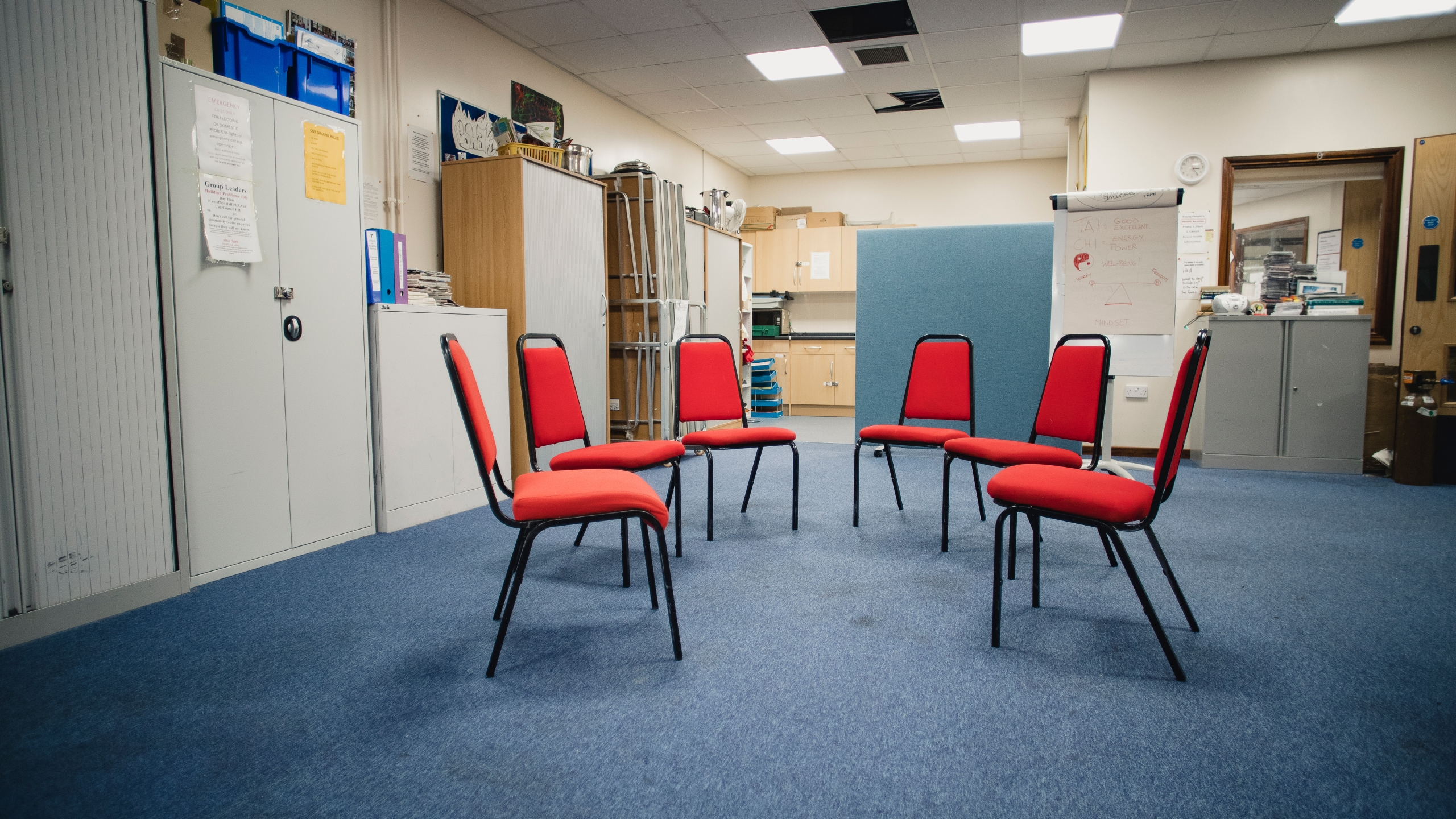 A rehabilitation center room prepared for a group therapy session is shown in a file image. (SolStock via Getty Images)