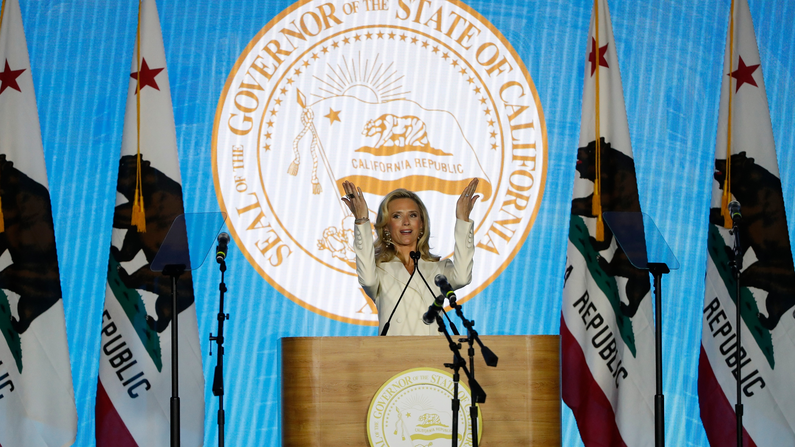 Jennifer Siebel Newsom speaks on stage during the inauguration of husband Gavin Newsom as governor of California on Jan. 7, 2019, in Sacramento. (Stephen Lam/Getty Images)