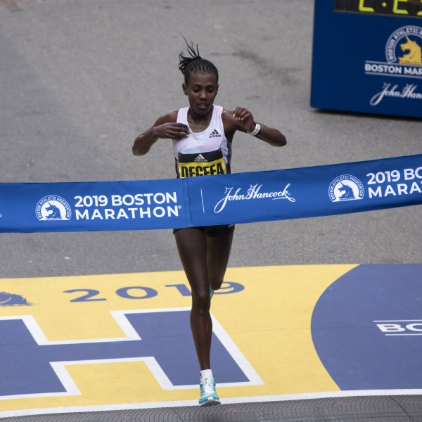 Ethopian Worknesh Degefa, wins the Women's Elite race at the 123rd Boston Marathon on April 15, 2019 in Boston, Massachusetts. (RYAN MCBRIDE/AFP via Getty Images)