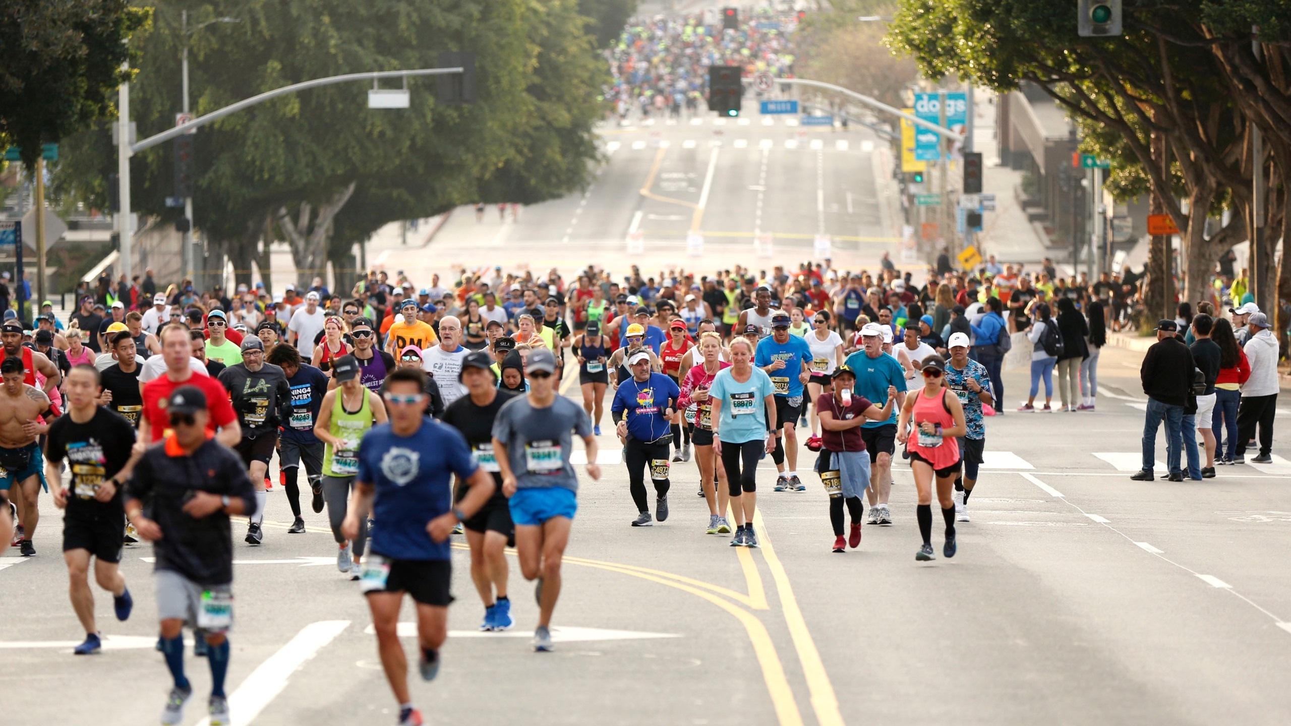 Participants run on First Street during the 2019 Skechers Performance Los Angeles Marathon on March 24, 2019 in Los Angeles. (Katharine Lotze/Getty Images)