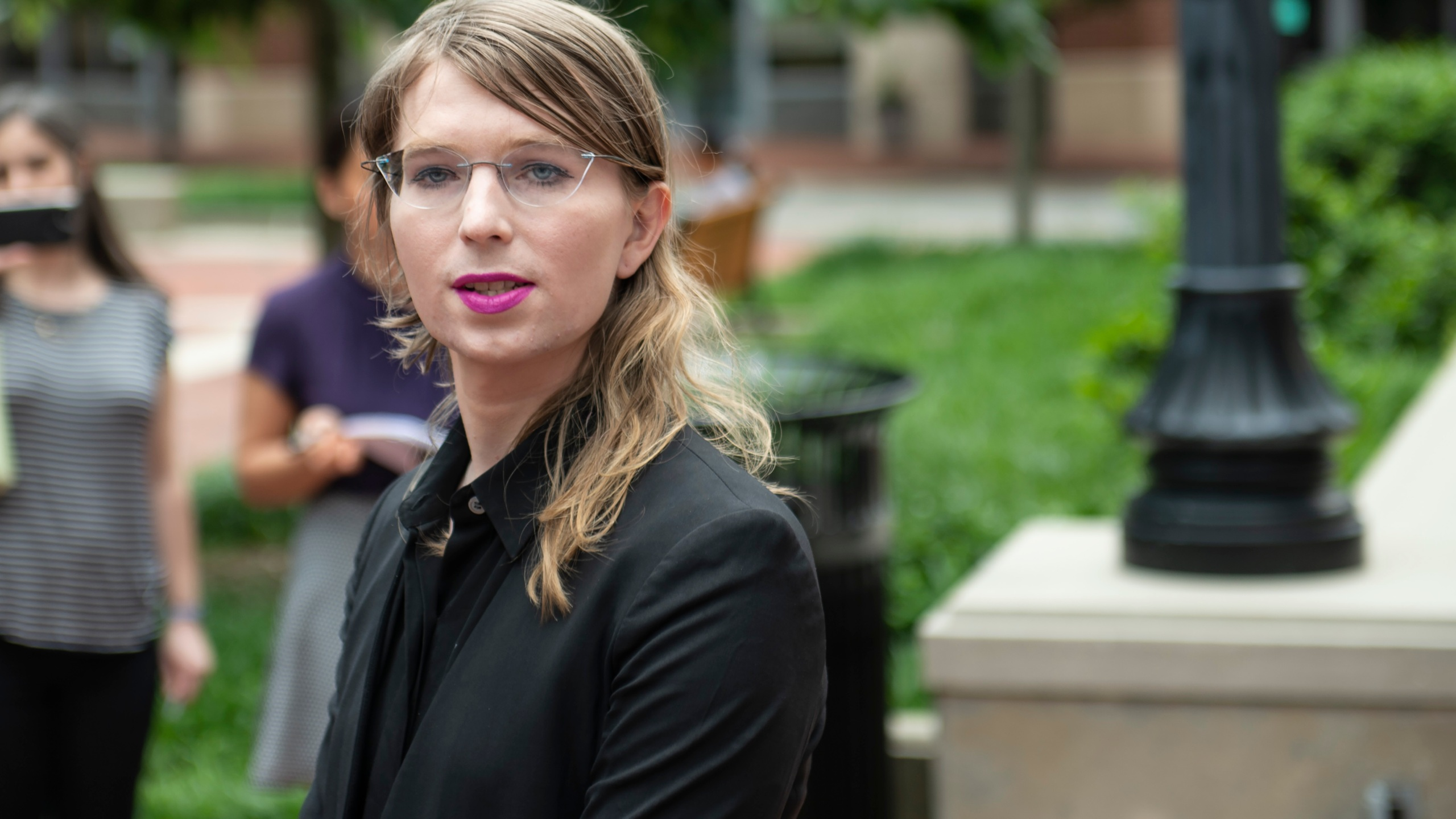 Former military intelligence analyst Chelsea Manning speaks to press ahead of a grand jury appearance about WikiLeaks in Alexandria, Virginia, on May 16, 2019. (Credit: Eric Baradat / AFP / Getty Images)