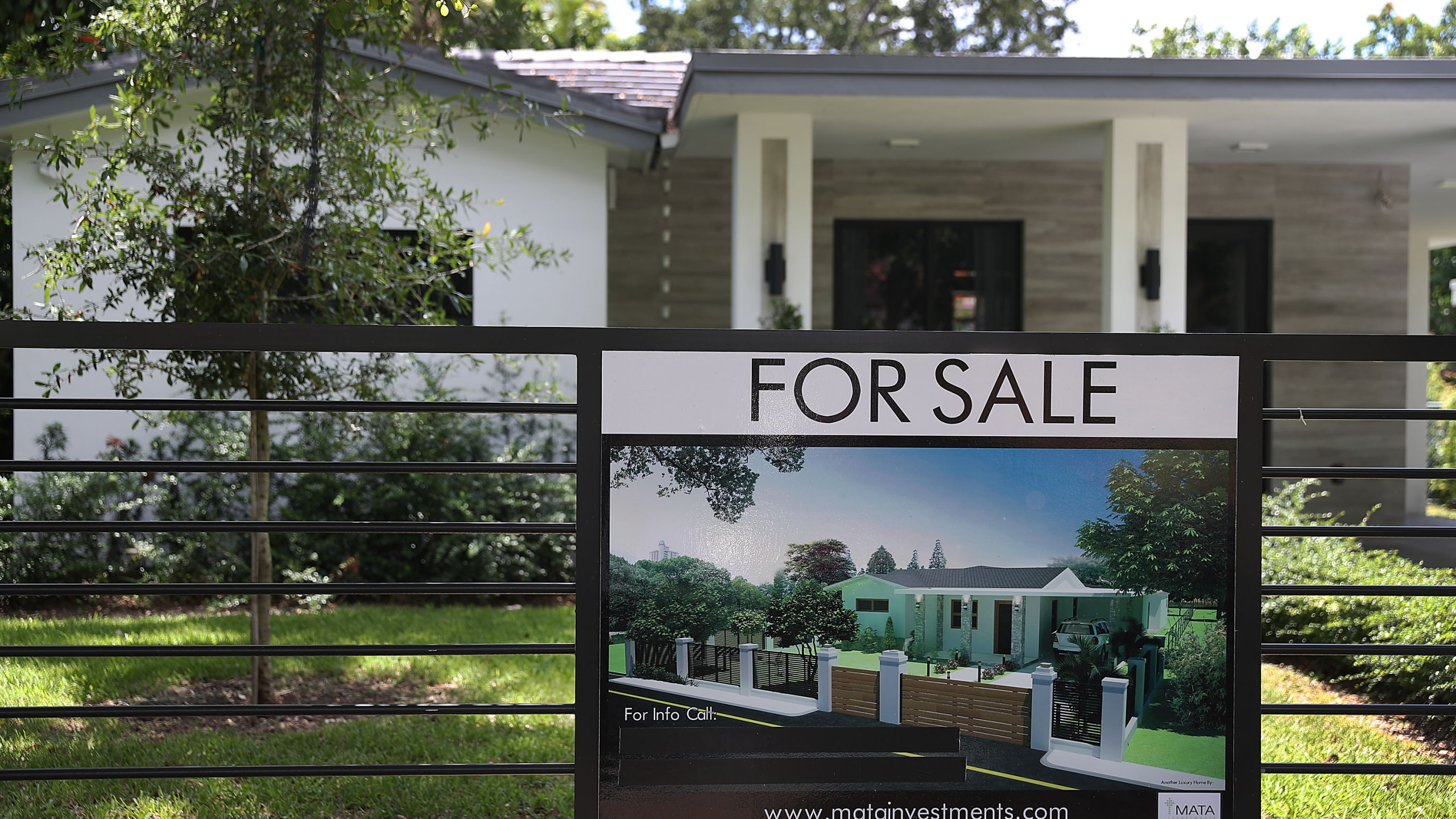 A 'for sale' sign is seen in front of a home on May 30, 2019, in Miami, Fla. (Joe Raedle/Getty Images)