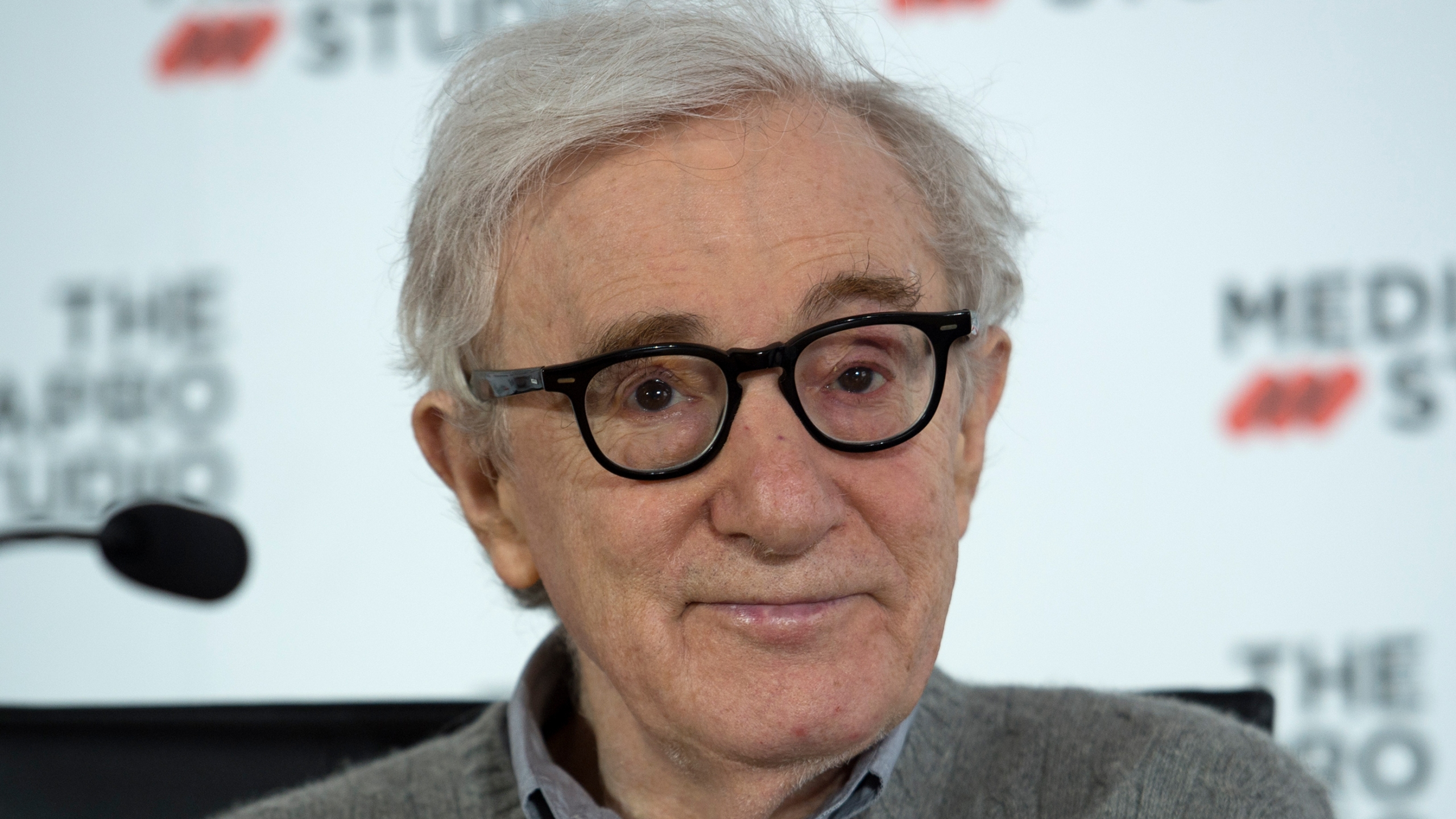 U.S. director Woody Allen holds a press conference in the northern Spanish Basque city of San Sebastian, where he will start shooting his yet-untitled next film, on July 9, 2019. (ANDER GILLENEA / AFP via Getty Images)